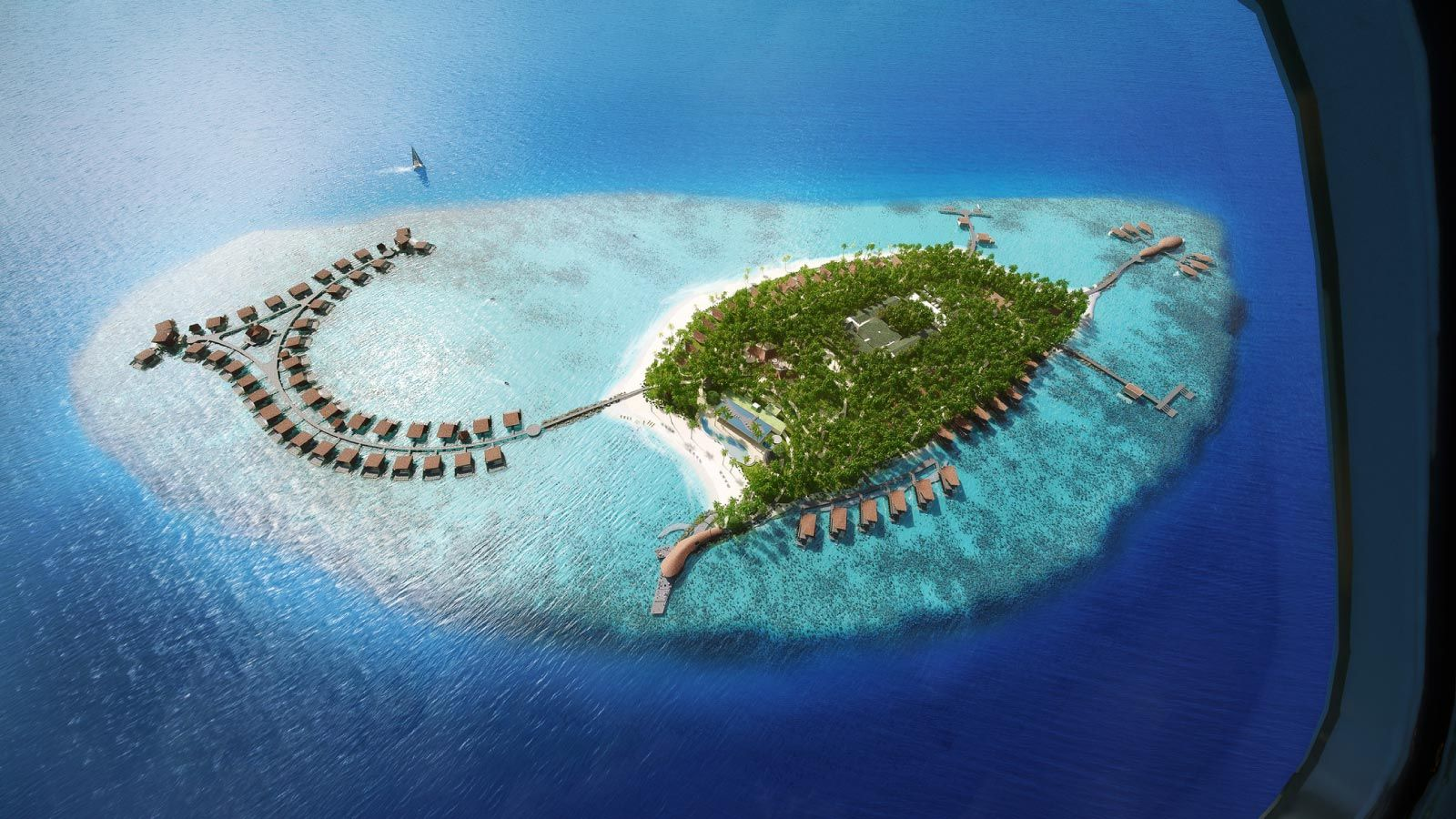 Aerial View of The St. Regis Maldives Vommuli Resort